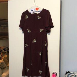 Size 6 burgundy beaded dragonfly flutter dress